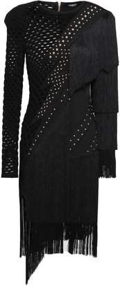 Balmain Fringed Studded Laser-cut Ponte Dress