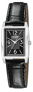 Citizen Women's Stainless Steel Watch with Black Leather Strap