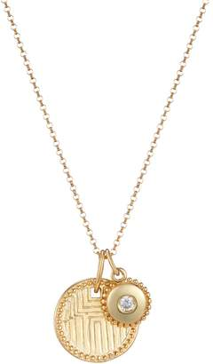 One and One Studio - Gold Geometric Engraved Disc Pendant & Jewel Charm Necklace On Chain