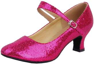 Honeystore Women's Soft Ground Mary Jane Glitter Dance Shoes