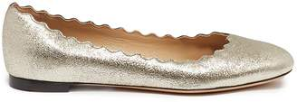 Chloé 'Lauren' scalloped metallic leather ballet flats