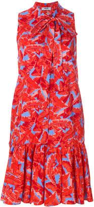 MSGM leaf print swing dress