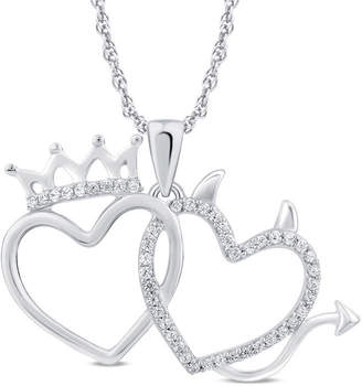 Zales 1/8 CT. T.W. Diamond Crown and Devil Double Heart Pendant in Sterling Silver