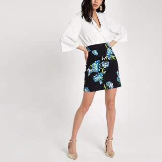 River Island Womens Black floral print mini skirt