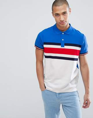 Tommy Hilfiger slim fit pique polo with chest icon stripe in blue
