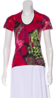 Neiman Marcus Printed Cashmere Top
