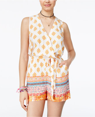 Be Bop Juniors' Printed Surplice Romper with Sash Belt $39 thestylecure.com