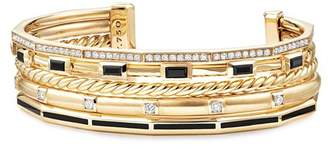 David Yurman Stax Color Cuff with Diamonds & Black Spinel in 18K Gold