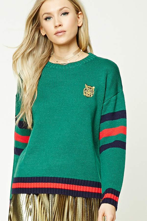 Forever 21 Tiger Embroidery Stripe Sweater