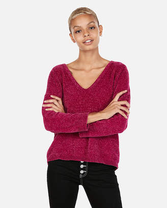 Express Velvet Chenille V-Neck Sweater