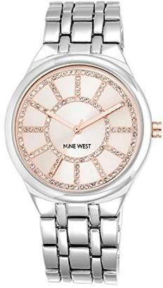 Nine West Women's NW/1807PKSB Glitter Accented Pink Dial Silver-Tone Bracelet Watch