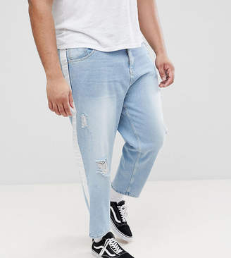 Asos DESIGN PLUS Skater Jeans In Light Wash With Abrasions And Side Stripe