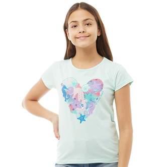 Board Angels Girls Heart Print T-Shirt Aqua