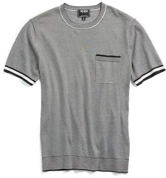 Todd Snyder Italian Silk/Cotton Feeder Stripe Short Sleeve Knit Crewneck