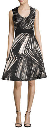 Rubin Singer Abstract-Stripe Sleeveless Fit & Flare Dress, Black