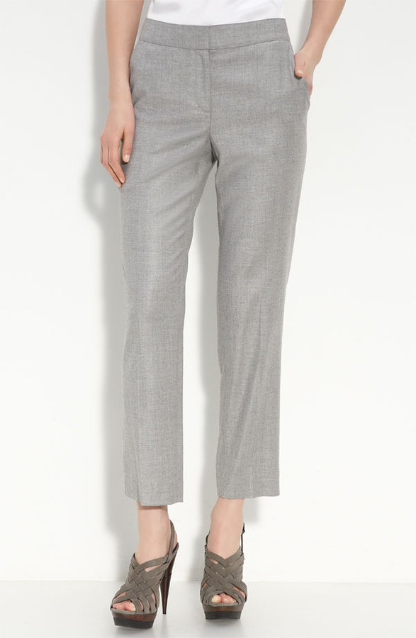 St. John Collection 'Emma' Crop Stretch Flannel Pants