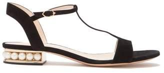 Nicholas Kirkwood Casati Pearl Heeled Suede Sandals - Womens - Black