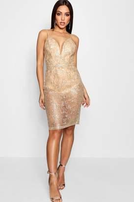 boohoo Rachel Sparkle Glitter Midi Dress