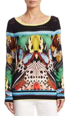 Roberto Cavalli Knit Butterfly-Print Blouse