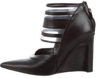 Derek Lam Pointed-Toe Leather Wedges