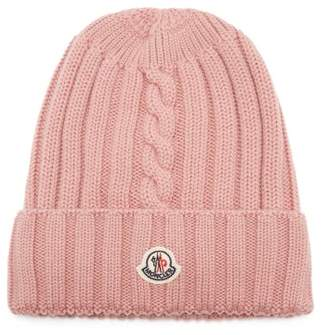 Moncler Ribbed Knit Wool Beanie Hat - Womens - Pink
