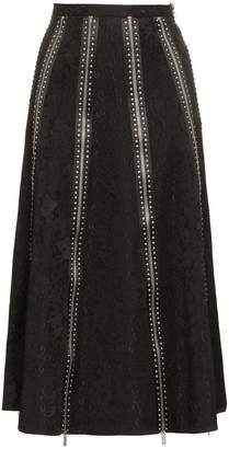 Christopher Kane high-waisted lace midi skirt with zip detail