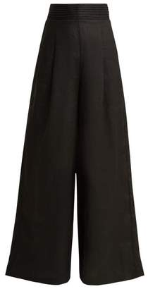 Aje - Tate Wide Leg Linen Trousers - Womens - Black
