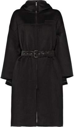Prada belted hooded coat