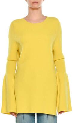 Stella McCartney Crewneck Bell-Sleeve Ribbed Wool Pullover Sweater