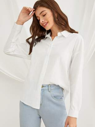 Shein Contrast Lace Back High Low Solid Blouse