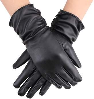 Simplicity Women's Elegant Warm Long PU Leather Gloves