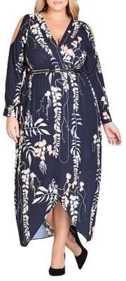 City Chic Plus Hothouse Vine Faux Wrap Maxi Dress