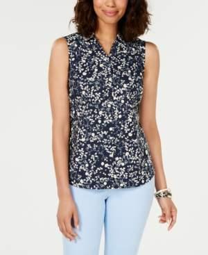 Charter Club Printed Sleeveless Shirt, Created for Macy's