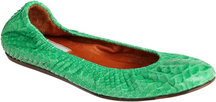 Lanvin Python Ballet Flat - Green