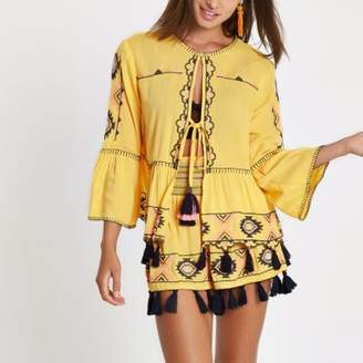 River Island Yellow aztec embroidered beach caftan
