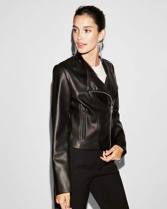Express Minus The) Leather Collarless Moto Jacket