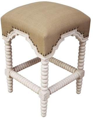 Noir Furniture Abacus Counter Stool With Olive Cotton Fabric