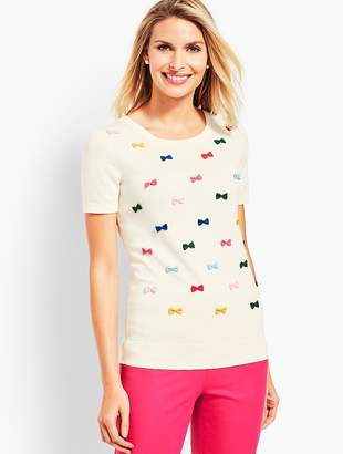 Talbots Party Bows Crewneck Sweater