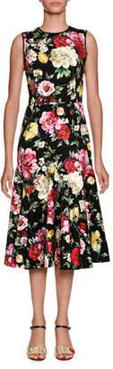 Dolce & Gabbana Round-Neck Sleeveless Floral-Print Midi Dress