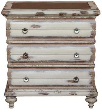 HomeFare Traditional Heavily Distressed Hand Painted Cream Three Drawer Accent Storage Chest