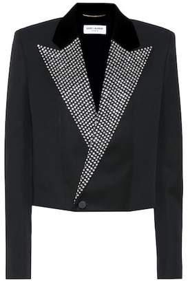 Saint Laurent Crystal-embellished tuxedo jacket