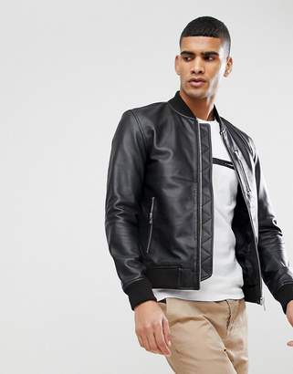 Selected Leather Bomber