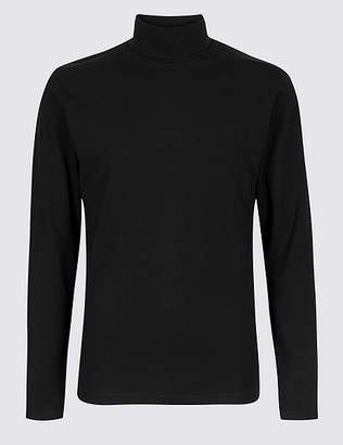 Marks and Spencer Cotton Rich Roll Neck Top