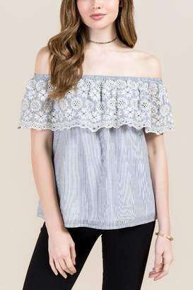 francesca's Jagger Embroidered Scallop Blouse - Gray