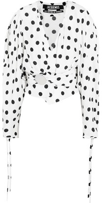 Jacquemus - Cropped Gathered Polka-dot Poplin Blouse - White $635 thestylecure.com