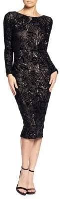 Dress the Population Sequin and Mesh Midi Sheath Dress