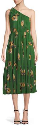 A.L.C. Tenley Silk Floral One-Shoulder Midi Dress