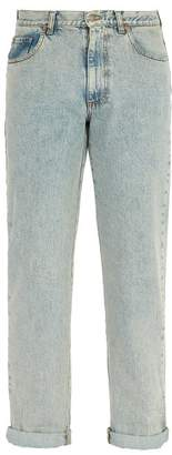 Gucci Logo Print Straight Leg Jeans - Mens - Blue
