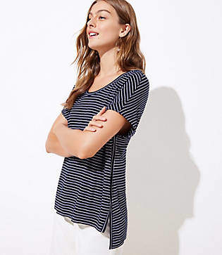 LOFT Striped Soft Hi-Lo Tee