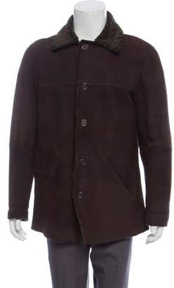 John Varvatos Shearling-Lined Leather Button-Up Coat